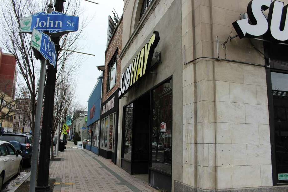 The Subway on the corner of John and Main Street is expected to reopen in a few months according to the building owner. Photo: Jordan Grice / Hearst Connecticut Media / Connecticut Post