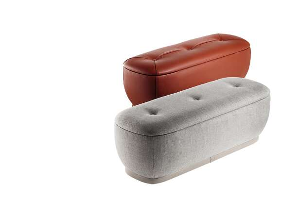Poltrona Frau's Lepli ottoman provides extra seating and storage. Poltrona Frau is an Italian luxury furniture maker whose goods are available in Houston at CASA at West Avenue.
