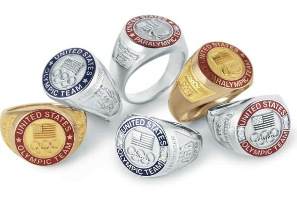 Team USA rings for the 2018 Winter Olympics designed by O.C. Tanner.