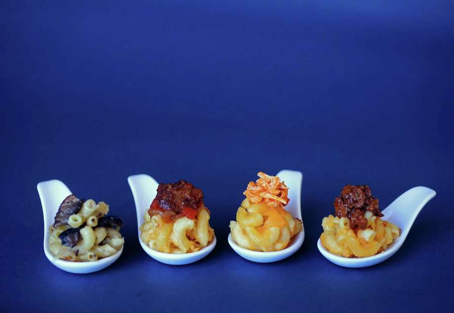 Wild Mushroom Macaroni and Cheese, from left, Macaroni and Cheese with Five-Spice Beef Topping, Macaroni and Cheese with Buffalo Chicken Topping and Macaroni and Cheese with Barbecued Brisket Topping Photo: Christian Gooden, MBR / St. Louis Post-Dispatch