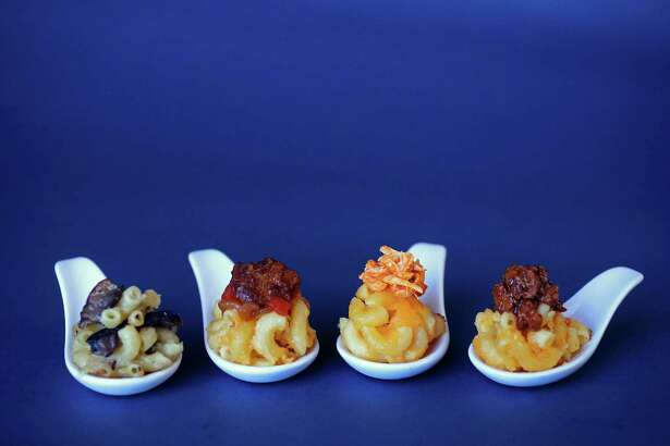 Wild Mushroom Macaroni and Cheese, from left, Macaroni and Cheese with Five-Spice Beef Topping, Macaroni and Cheese with Buffalo Chicken Topping and Macaroni and Cheese with Barbecued Brisket Topping