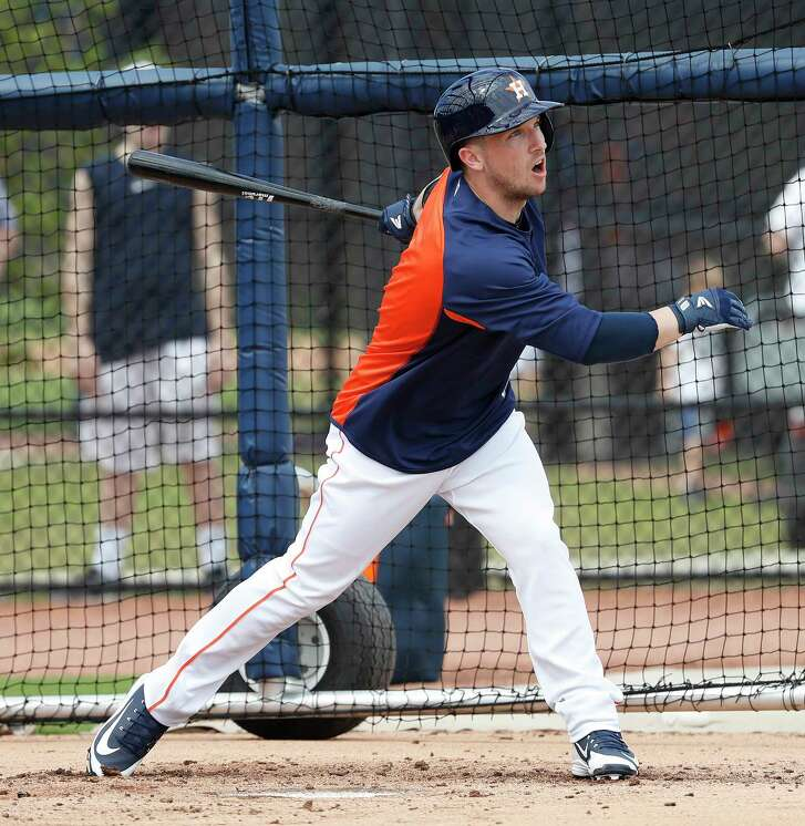 Houston Astros third baseman Alex Bregman (2) bats during live batting practice, as full squad workouts began during spring training day at The Ballpark of the Palm Beaches, Monday, Feb. 19, 2018, in West Palm Beach .