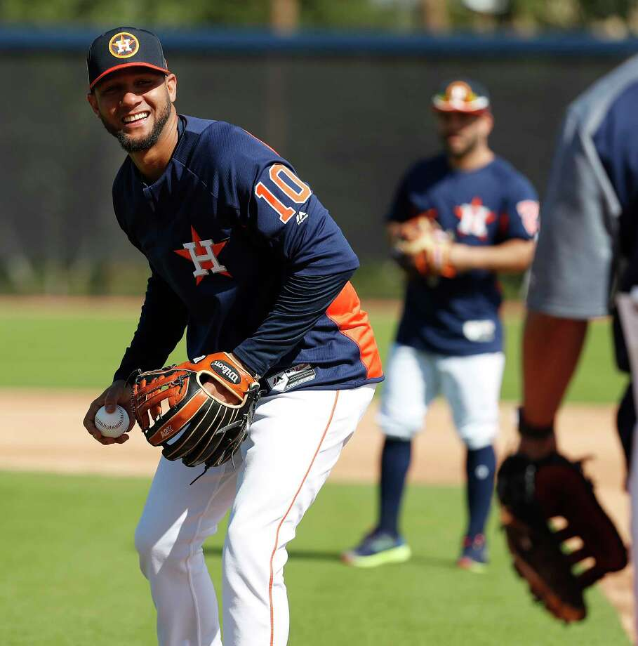 Houston Astros first baseman Yuli Gurriel (10) smiles during a drill as full squad workouts began during spring training day at The Ballpark of the Palm Beaches, Monday, Feb. 19, 2018, in West Palm Beach . Photo: Karen Warren, Houston Chronicle / © 2018 Houston Chronicle