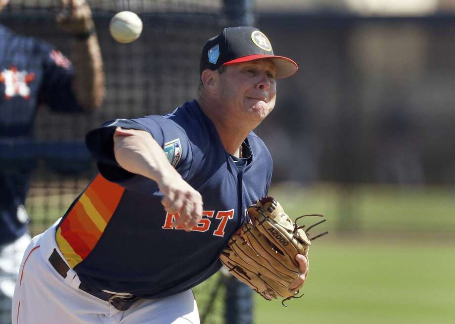 Houston Astros pitcher Brad Peacock throws live batting practice during spring training baseball practice Monday, Feb. 19, 2018, in West Palm Beach, Fla. (AP Photo/Jeff Roberson) Photo: Jeff Roberson, STF / Associated Press / Copyright 2018 The Associated Press. All rights reserved.