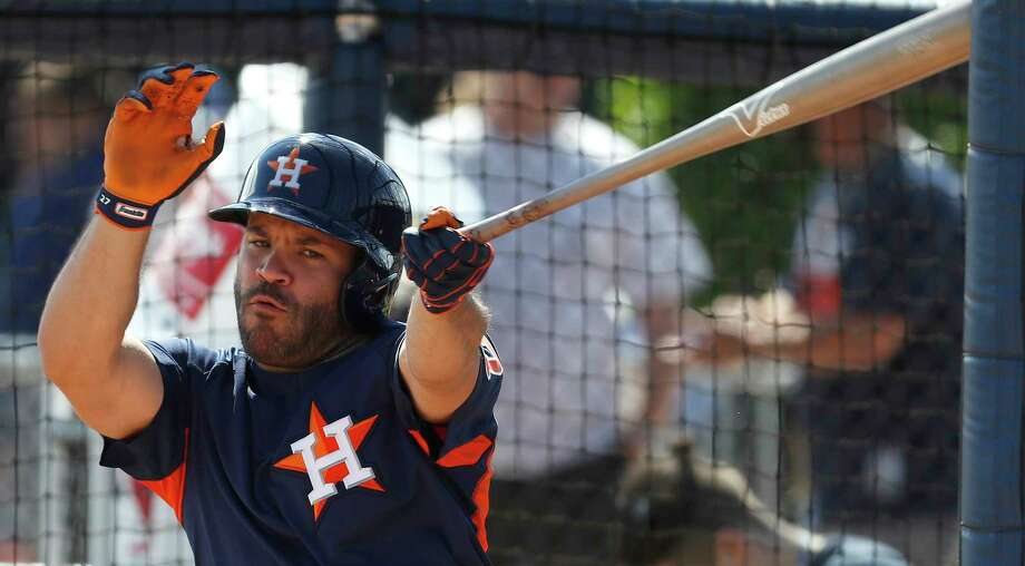 Houston Astros second baseman Jose Altuve (27) swings at a strike during live batting practice as full squad workouts began during spring training day at The Ballpark of the Palm Beaches, Monday, Feb. 19, 2018, in West Palm Beach    ( Karen Warren / Houston Chronicle ) Photo: Karen Warren, Staff / © 2018 Houston Chronicle