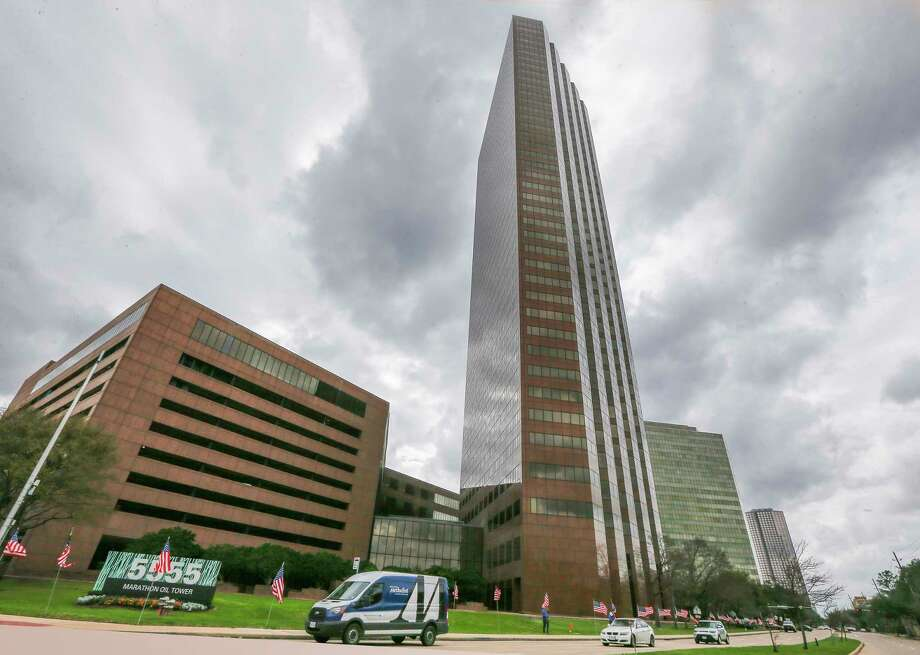 The Marathon Oil Tower, 5555 San Felipe photographed Monday, Feb. 19, 2018, in Houston. M-M Properties purchased the building.  CONTINUE to see what some of Houston's tallest buildings looked like under construction.  Photo: Steve Gonzales, Houston Chronicle / © 2018 Houston Chronicle
