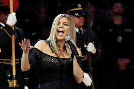 Singer Fergie took a bluesy approach to the national anthem prior to the NBA All-Star basketball game.