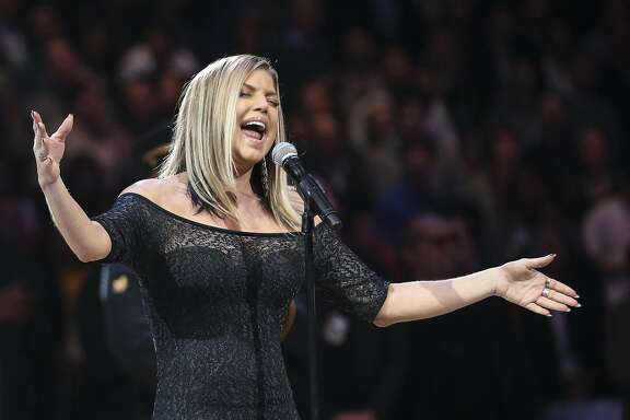 Fergie sings the national anthem before the NBA All-Star Game on Sunday, Feb. 18, 2018 at Staples Center in Los Angeles, Calif. (Robert Gauthier/Los Angeles Times/TNS)