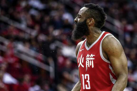 Houston Rockets guard James Harden (13) yells at a referee after he thought he was fouled on a three-point shot as the Houston Rockets beat the Dallas Mavericks 104-97 at the Toyota Center Sunday, Feb. 11, 2018 in Houston. (Michael Ciaglo / Houston Chronicle)