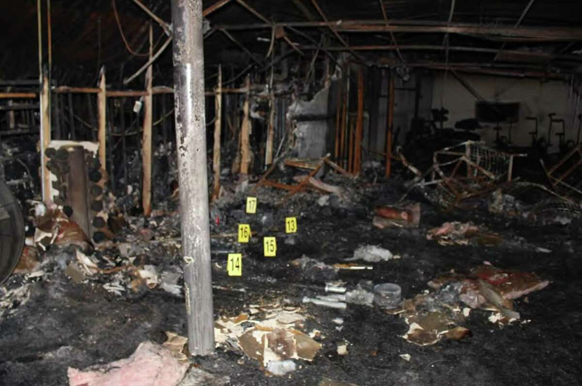 Interior of Spartan Box Gym, post fire. A state fire marshal report calls for changes in the San Antonio Fire Department.