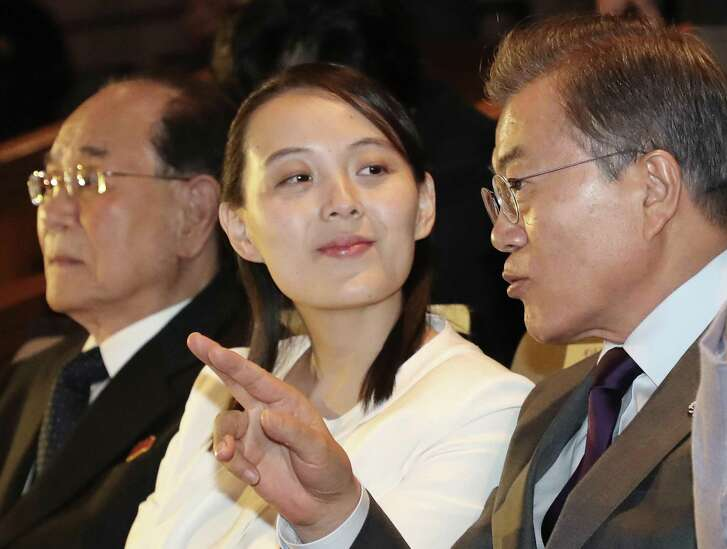 South Koran President Moon Jae-in talks with Kim Yo Jong, North Korean leader Kim Jong Un's sister, during a Feb. 11 performance of North Korea's Samjiyon Orchestra at National Theater in Seoul, South Korea. Media fawning over her has been galling.