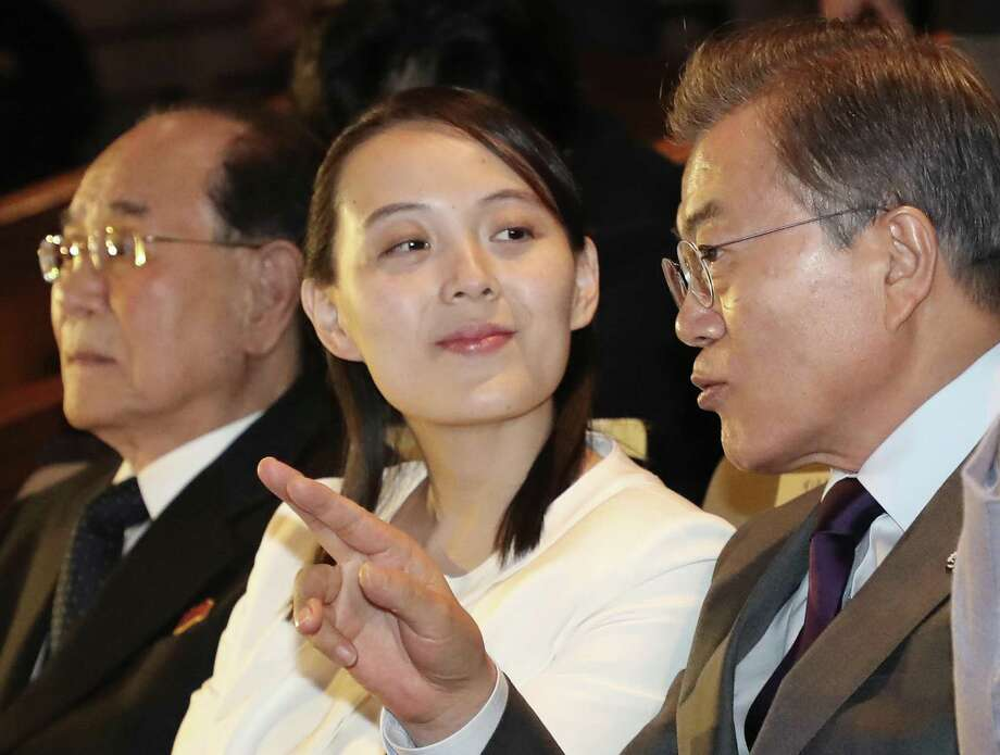 South Koran President Moon Jae-in talks with Kim Yo Jong, North Korean leader Kim Jong Un's sister, during a Feb. 11 performance of North Korea's Samjiyon Orchestra at National Theater in Seoul, South Korea. Media fawning over her has been galling. Photo: Bae Jae-man /Associated Press / Yonhap