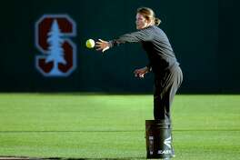 Stanford's new women's softball coach Jessica Allister during practice on campus in Stanford, Calif. on Thursday Feb. 15, 2018. Allister is a former All-American catcher who played for Stanford.