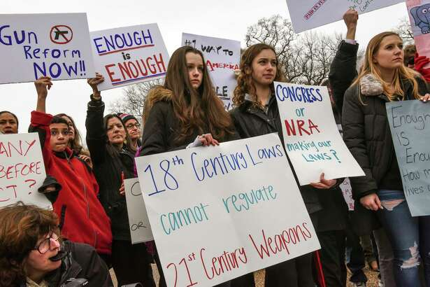 Students from gather in front of the White House to rally for gun control Monday.