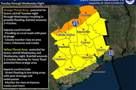 Heavy rainfall is expected to hit the Houston region this week potentially resulting in flooding in some areas, according to the National Weather Service in Houston.