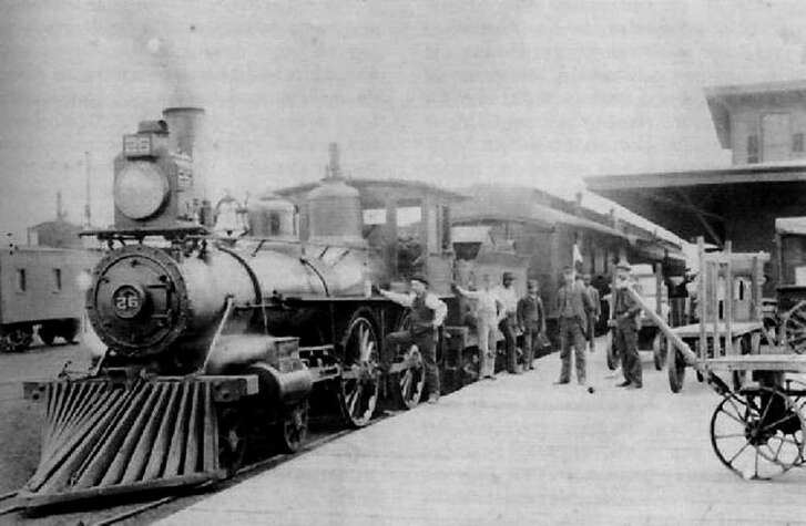 International & Great Northern train at the original I & GN station in San Antonio in 1891. The I & GN was wholly owned by the Missouri Pacific at that time. In accordance with Texas law, all railroads operating within Texas had to be based in Texas.