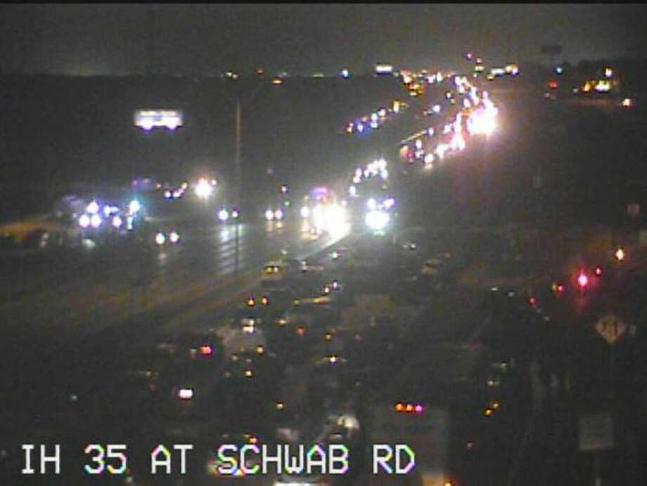 Interstate 35 was closed in both directions after 7 p.m. Monday Feb. 19, 2018, as law enforcement dealt with some type of incident. Access roads were also closed at Schwab Road. Photo: Texas Dot
