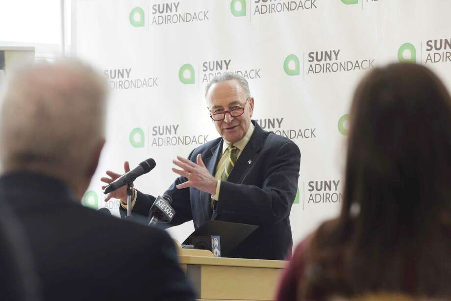 Senator Charles Schumer talks about cyber security during a visit to SUNY Adirondack college on Monday, Feb. 19, 2018, in Queensbury, N.Y. Senator Schumer came to the college launch his effort to secure more federal investment opportunities for colleges to create or expand their cyber defense degree programs.   (Paul Buckowski/Times Union) Photo: PAUL BUCKOWSKI / (Paul Buckowski/Times Union)