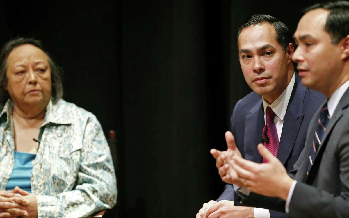 U.S. Rep. Joaquin Castro, D-San Antonio, (right) speaks as his mother Rosie Castro (left), and twin brother Julian Castro, former San Antonio Mayor and former Secretary of Housing and Urban Development, listen during the Making the Grade: A Conversation with Julian, Joaquin, and Rosie Castro event held Monday Feb. 19, 2018 at the Prothro Theater in the Harry Ransom Center on the University of Texas at Austin campus in Austin, Tx.