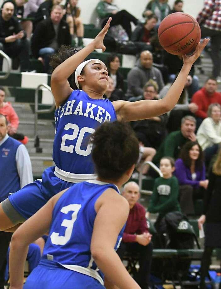 Shaker's Shyla Sanford grabs a rebound during a basketball game against Shenendehowa on Tuesday, Feb. 6, 2018 in Clifton Park, N.Y. (Lori Van Buren/Times Union) Photo: Lori Van Buren / 20042840A