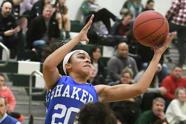 Shaker's Shyla Sanford grabs a rebound during a basketball game against Shenendehowa on Tuesday, Feb. 6, 2018 in Clifton Park, N.Y. (Lori Van Buren/Times Union)