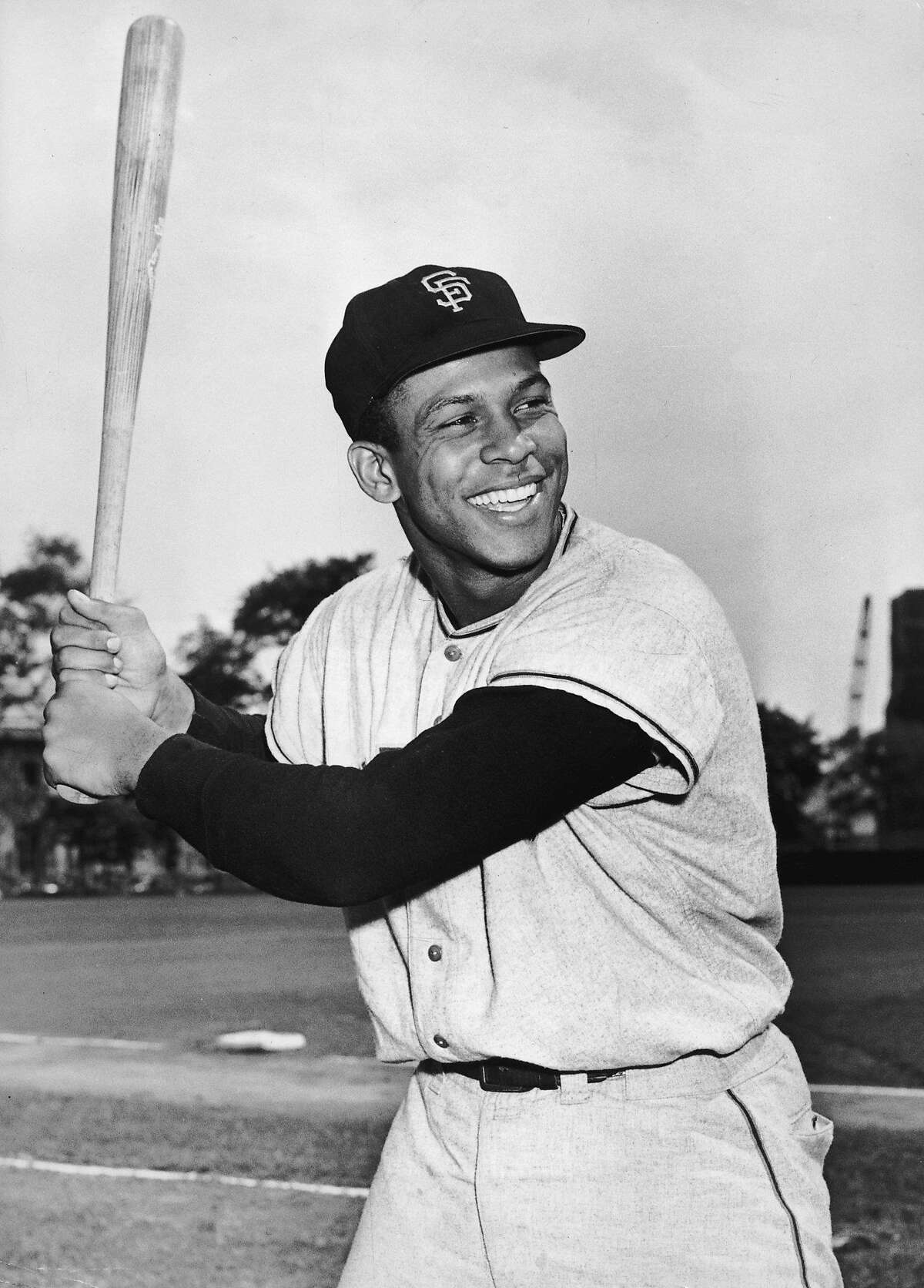 circa 1961: Portrait of Puerto Rican-born baseball player Orlando Cepeda of the San Francisco Giants smiling in uniform while posing in batting stance. (Photo by Hulton Archive/Getty Images)