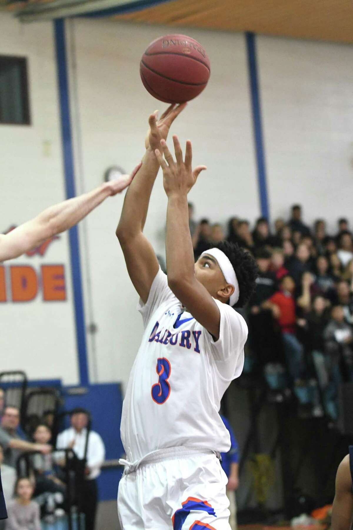 Danbury?'s Jordon Brown during the championship game between Danbury High and Immaculate at the 18th-annual News-Times Tip-Off Classic boys basketball tournament at Danbury High School, Dec. 20, 2017.