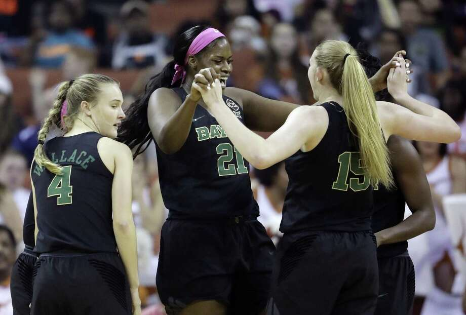 Baylor center Kalani Brown (21) leads the celebration with teammates in the first half at the Erwin Center. Photo: Eric Gay /Associated Press / Copyright 2018 The Associated Press. All rights reserved.