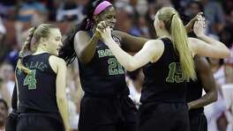 Baylor center Kalani Brown (21) leads the celebration with teammates in the first half at the Erwin Center.