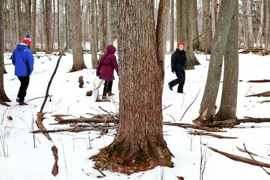 Interpretive naturalist Jeanne Henderson leads a group along Meadow Mouse Trail during a winter hike Saturday at the Chippewa Nature Center. During the hike, the group searched for signs of life in the winter landscape. (Samantha Madar/for the Daily News)