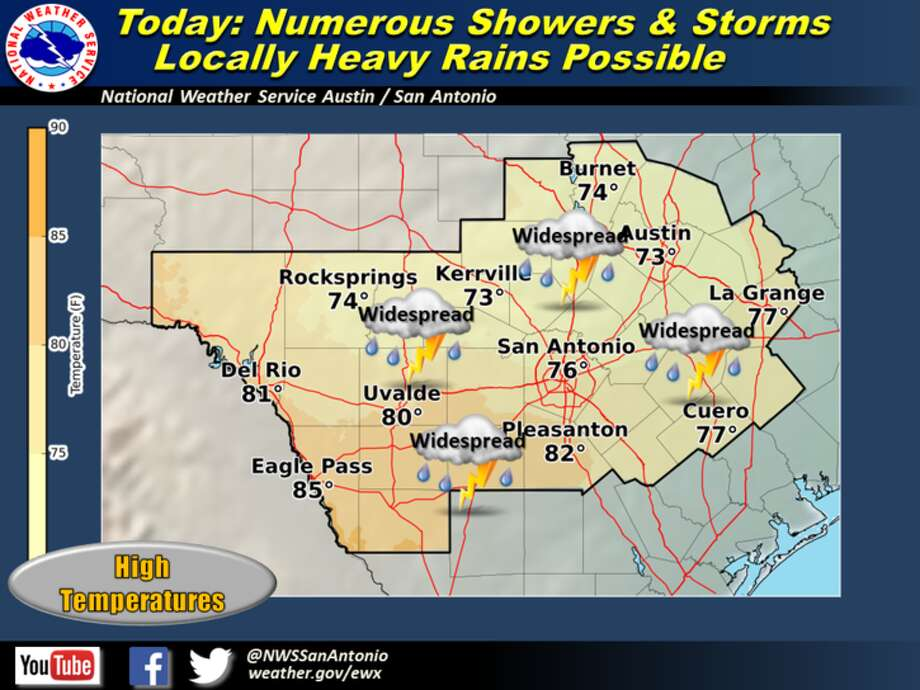 Light rain started sprinkling San Antonio Tuesday morning and is expected to continue to do so in patches through Wednesday night, according to the National Weather Service. Photo: National Weather Service