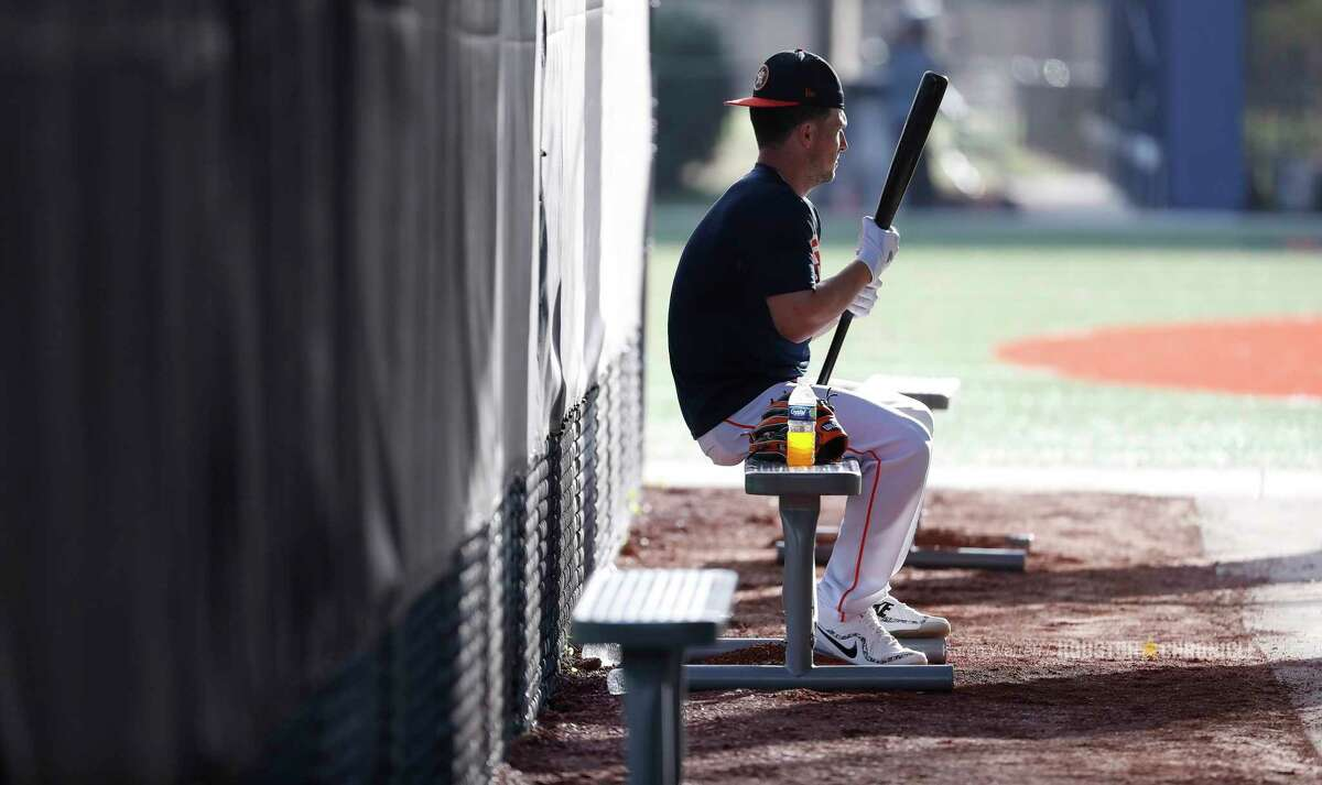 Houston Astros Alex Bregman (2) takes in an early morning batting practice during spring training day at The Ballpark of the Palm Beaches, Tuesday, Feb. 20, 2018, in West Palm Beach .