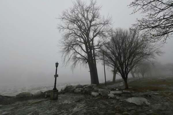 Fog shrouds the Mohawk River near the Rexford Bridge in Niskayuna. A 17-mile-long ice jam in the Mohawk River has forecasters watching the river for signs of flooding as rain and warm temperatures hit the Capital Region.