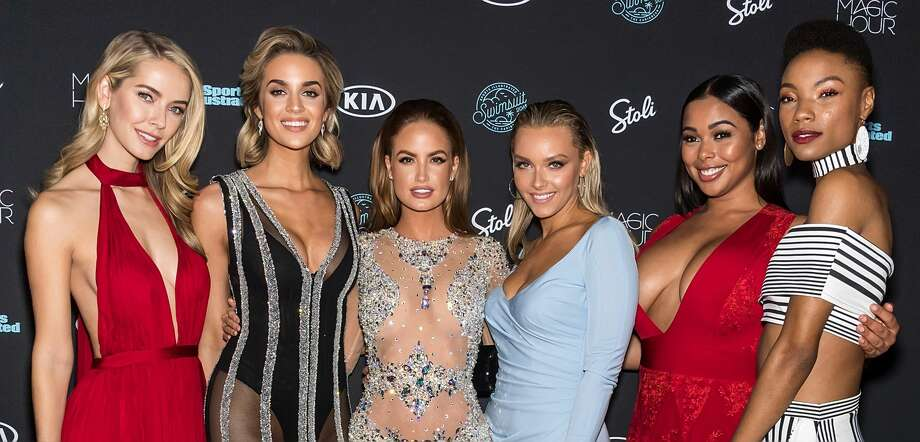 (Left to right) Models Olivia Jordan, Allie Ayers, Haley Kalil, Camille Koste, Tabria Majors and Iyonna Fairbanks attend the 2018 Sports Illustrated Swimsuit Issue Launch Celebration at Magic Hour at Moxy Times Square on February 14, 2018 in New York City. Photo: Gilbert Carrasquillo/FilmMagic