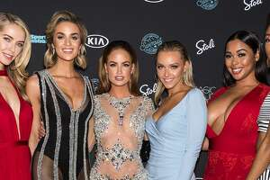 (Left to right) Models Olivia Jordan, Allie Ayers, Haley Kalil, Camille Koste, Tabria Majors and Iyonna Fairbanks attend the 2018 Sports Illustrated Swimsuit Issue Launch Celebration at Magic Hour at Moxy Times Square on February 14, 2018 in New York City.