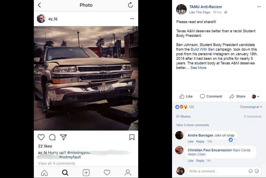 FILE - A screenshot of a Facebook post from the TAMU Anti-Racism group on Feb. 19, 2018. The group accuses Texas A&M student body presidential candidate Ben Johnson of racism following the discovery of a 5-year-old Instagram post that disparages Asian drivers. Photo: File/TAMU Anti-Racism Via Facebook