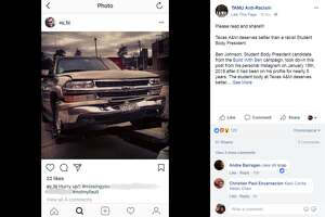FILE - A screenshot of a Facebook post from the TAMU Anti-Racism group on Feb. 19, 2018. The group accuses Texas A&M student body presidential candidate Ben Johnson of racism following the discovery of a 5-year-old Instagram post that disparages Asian drivers.