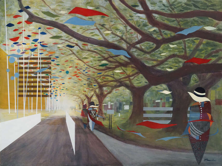 """""""Oaks of Nitida"""" is one of six paintings in Sherry Tseng Hill's """"Beat Sounds"""" series, commissioned for the community room of HPD's new Southwest Station. Photo: Courtesy Of The Artist"""