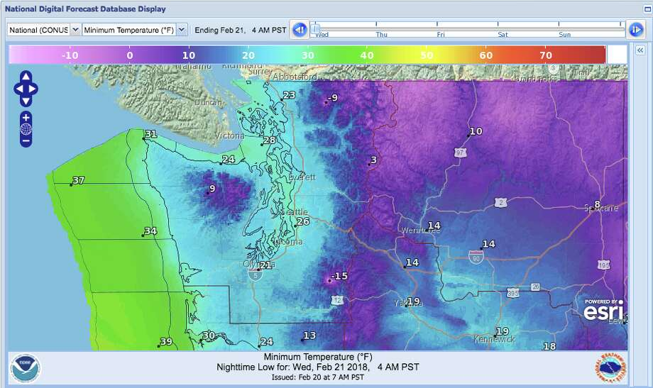 "Overnight lows will stay down heading into Wednesday, as Seattle remains in a ""chilly and wet"" weather pattern. Photo: NOAA"