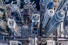 Drone photographer Bachir Moukarzel captures incredible new perspectives of Dubai by looking at the city's infrastructure and buildings at a 90-degree angle from above the sites. He shares his photos with tens of  thousands of followers on Instagram.