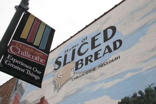 "Downtown Chillicothe, Mo., where a mural celebrates the town's slogan, ""Home of Sliced Bread."""