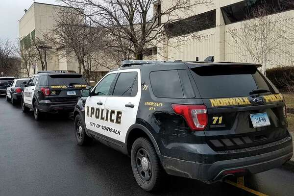 Police arrive at Norwalk High School following a reported disturbance Tuesday February 20, 2018 in Norwalk Connecticut