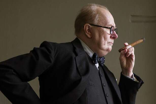 "This image released by Focus Features shows Gary Oldman as Winston Churchill in a scene from ""Darkest Hour."" Oldman was nominated for an Oscar for best actor on Tuesday, Jan. 23, 2018. The 90th Oscars will air live on ABC on Sunday, March 4. (Jack English/Focus Features via AP)"
