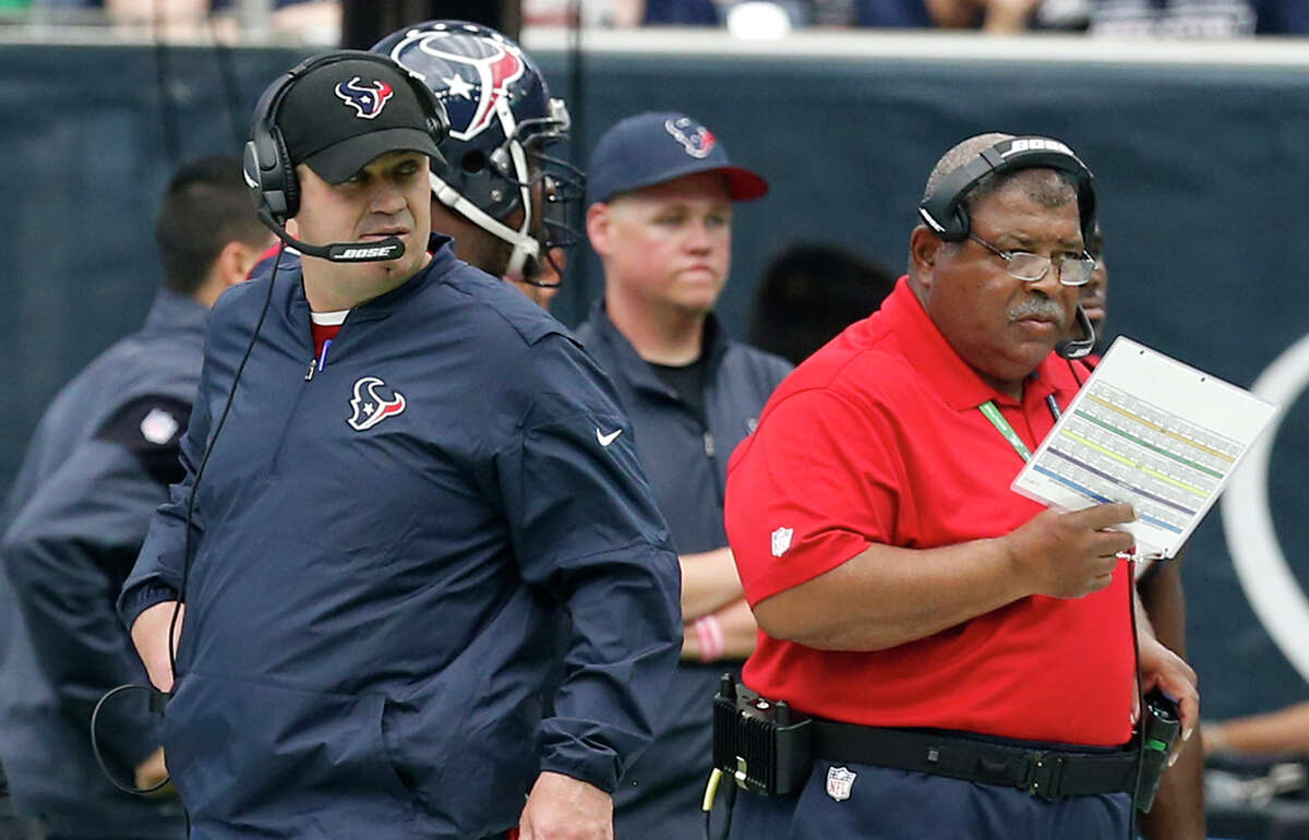 The job security of Texans coach Bill O'Brien and defensive coordinator Romeo Crennel (right) was a hot topic for Texans fans in the wake of Sunday's playoff collapse in Kansas City.