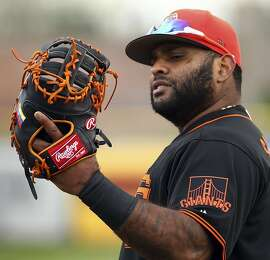 San Francisco Giants' Pablo Sandoval during a spring training baseball practice on Monday, Feb. 19, 2018 in Scottsdale, Ariz. (AP Photo/Ben Margot)