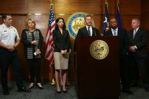 George T. Buenik, at lecturn, was named Houston's chief of public safety and homeland security.