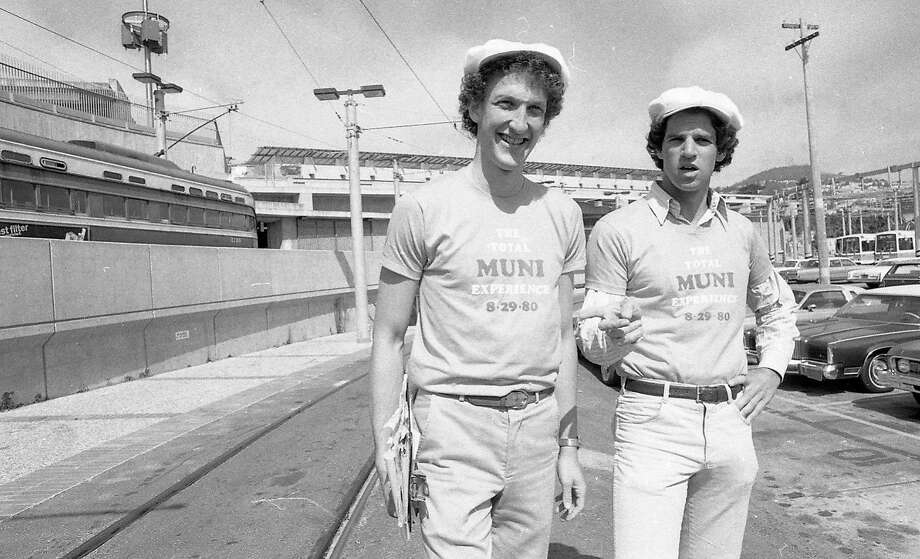 Larry Baer (left) and Andrew Coblentz ride every line during the Total Muni Experience in 1980. Photo: Clem Albers / The Chronicle 1980