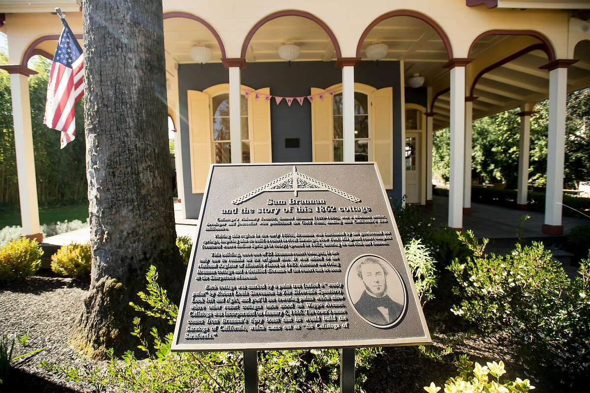 A historical information plaque stands in front of the Brannon Cottage Inn in Calistoga, Calif., on Saturday, Feb. 17, 2018.