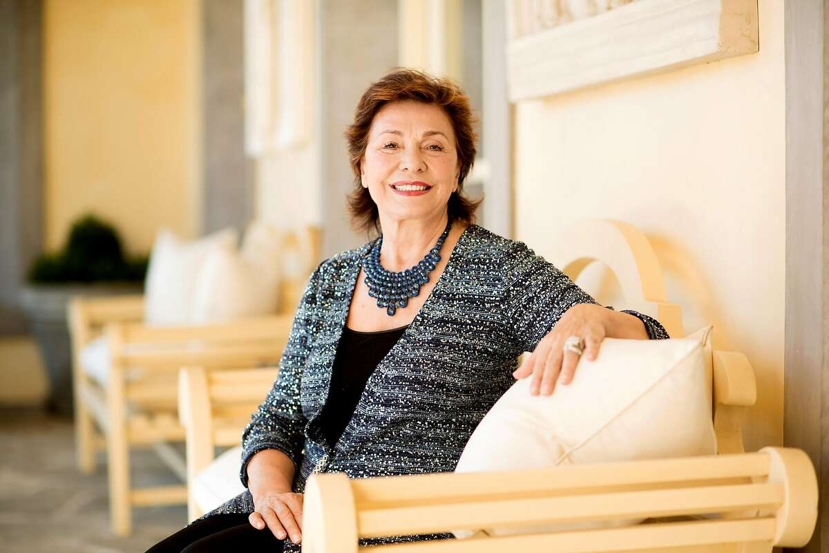 Arts patron Maria Manetti Farrow poses for a portrait at her summer home in Oakville, Calif., on Saturday, Feb. 17, 2018.