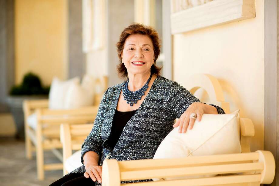 """Arts patron Maria Manetti Shrem sits at her summer home in Oakville. """"My heart was set on having a place here from the moment I came to Northern California."""" Photo: Noah Berger, Special To The Chronicle"""